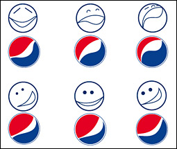 Menselijke signalen in logo Pepsi